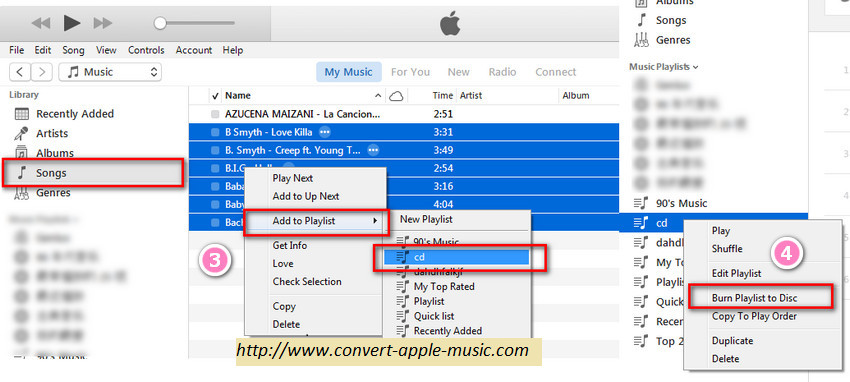how to burn Apple Music Playlist to CD with iTunes