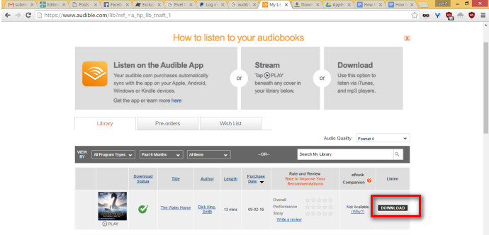 Download Your Audible AudioBooks